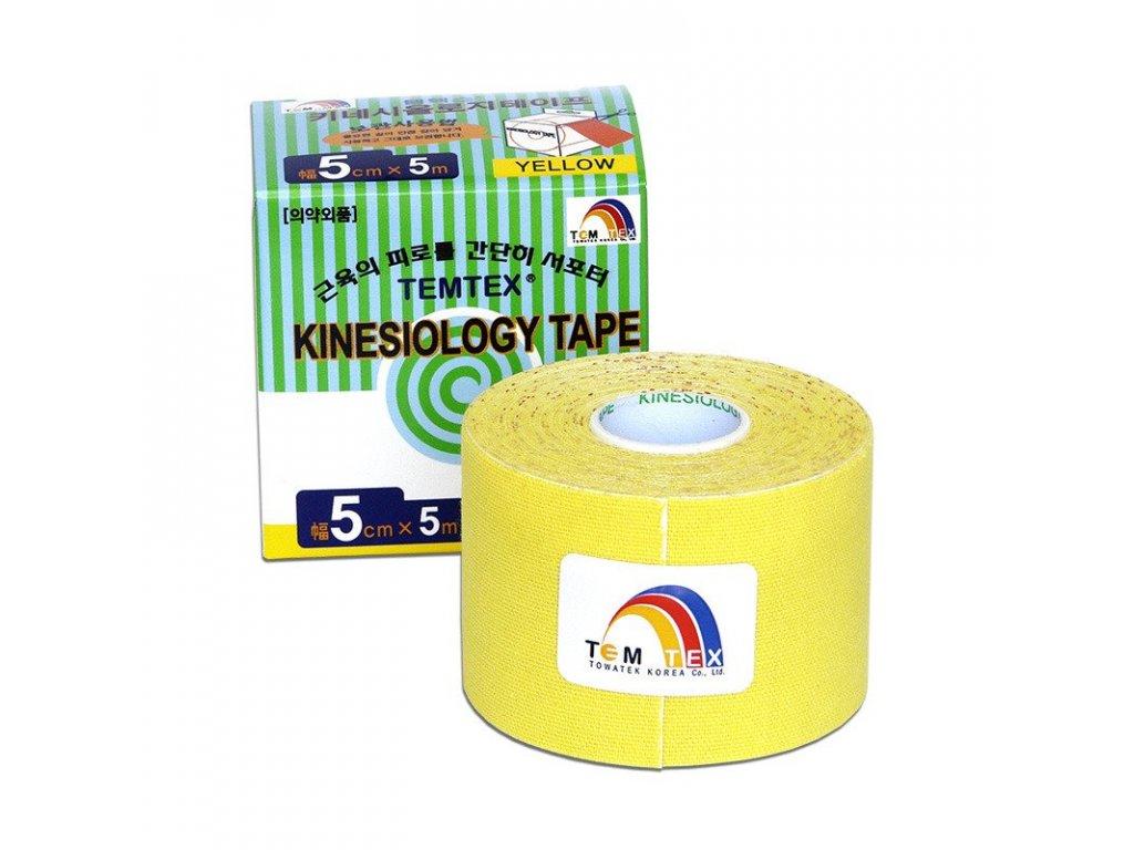 TEMTEX kinesio tape Classic, žlutá tejpovací páska 5 cm x 5 m