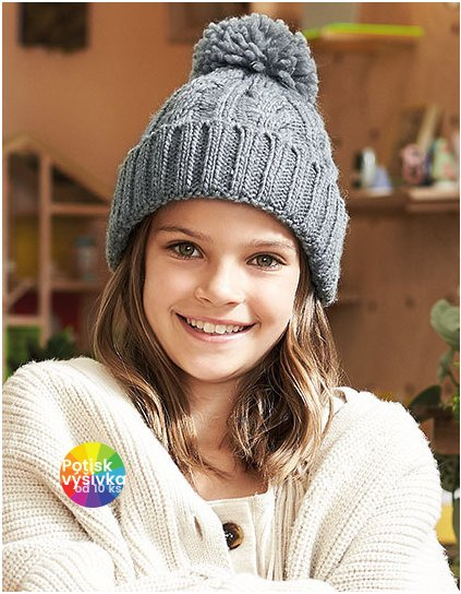 Junior Cable Knit Melange Beanie  G_CB480b
