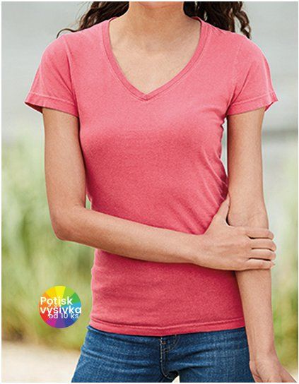 Ladies` Midweight V-Neck Tee  G_CC3199