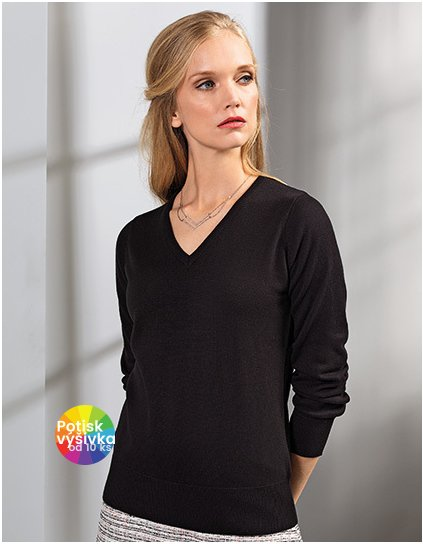 Ladies` V-Neck Knitted Sweater  G_PW696
