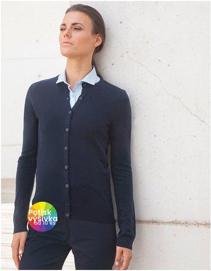 Ladies` Cashmere Touch Acrylic Crew Neck Cardigan  G_W762