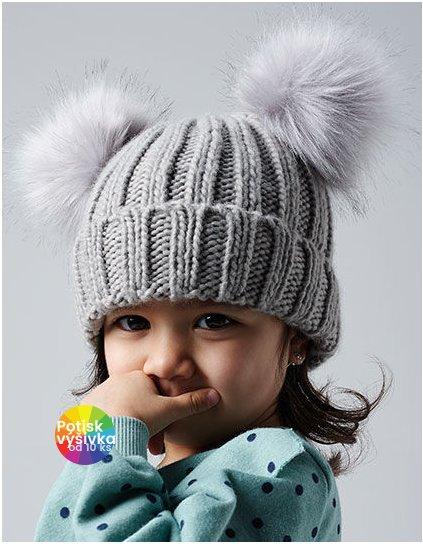 Infant Faux Fur Double Pom Pom Beanie  G_CB414A