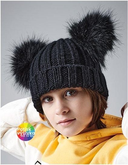 Junior Faux Fur Double Pom Pom Beanie  G_CB414B