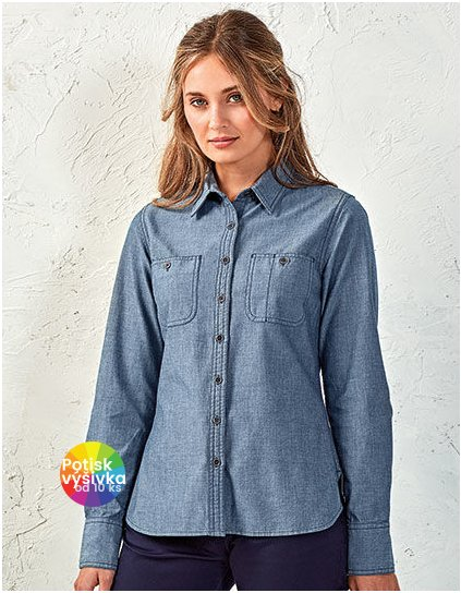 Women`s Organic Chambray Fairtrade Long Sleeve Shirt  G_PW347