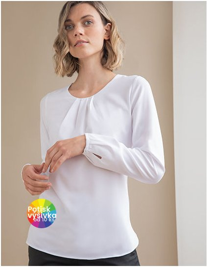 Ladies Pleat Front Long Sleeved Blouse  G_W598
