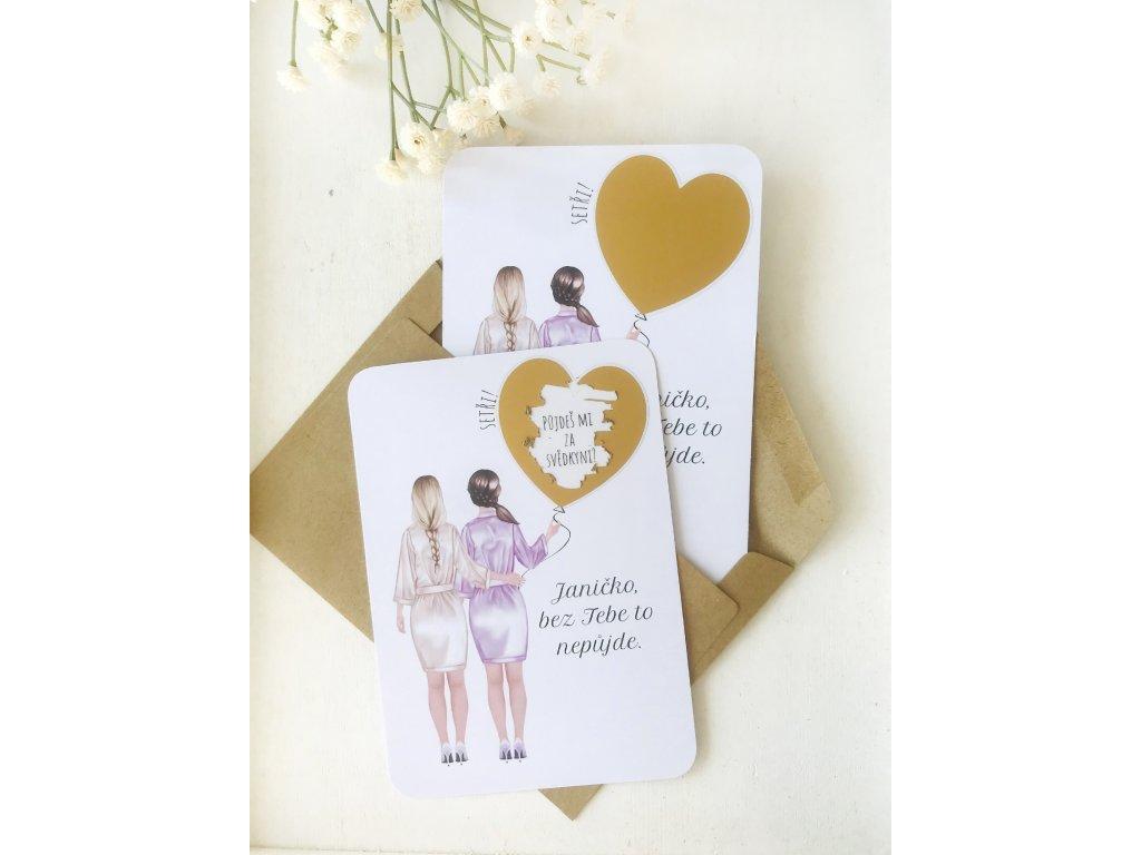 Stírací karty - nevěsta a svědkyně malé srdce