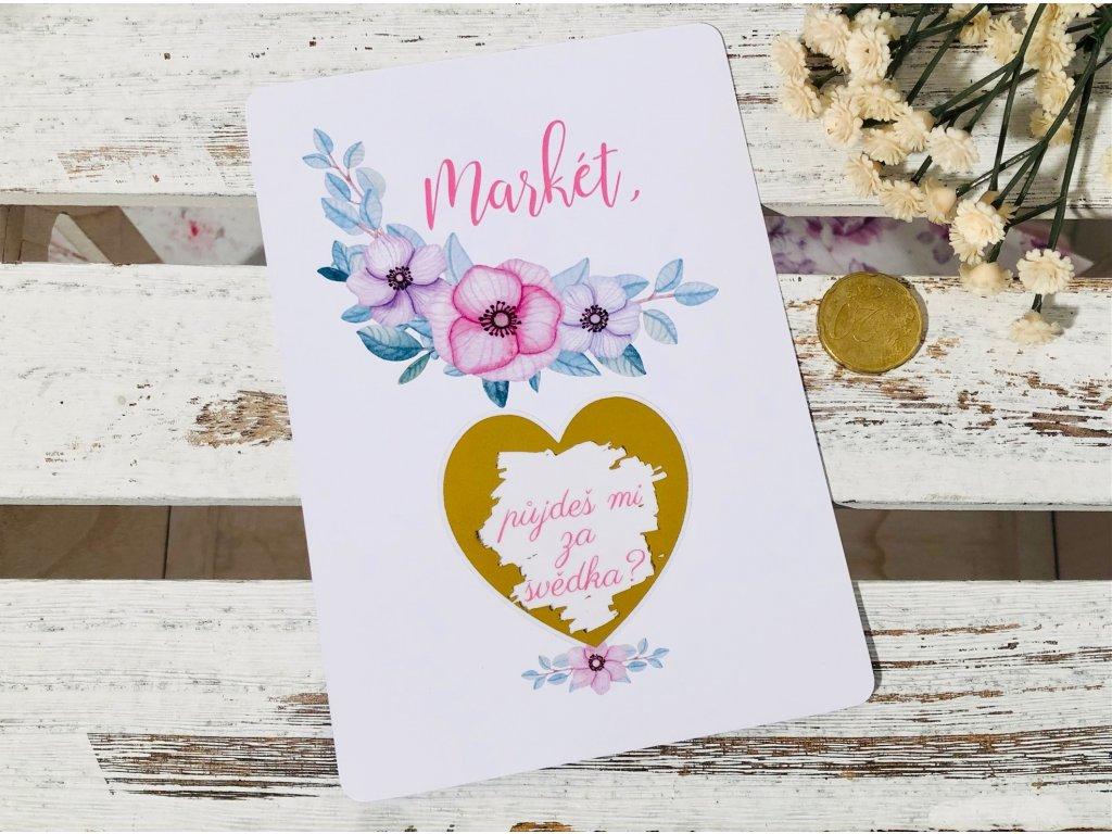 Stírací karta s růžovým květem