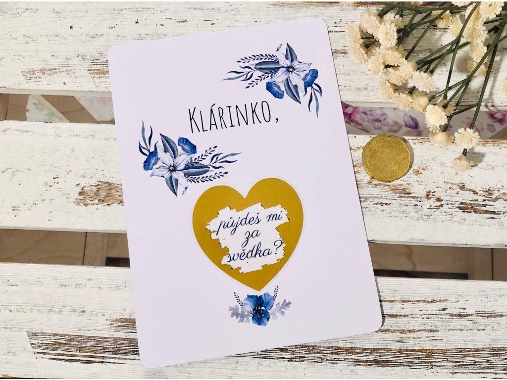 Stírací karta modré květiny