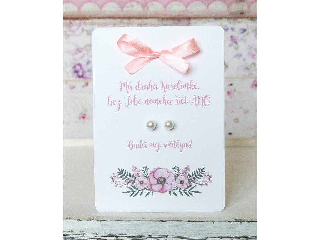Karta s náušnicemi - žádost růžová