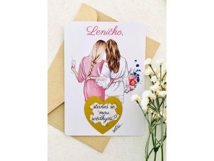 Stírací karty - nevěsta a svědkyně v županu