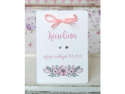 Karta s náušnicemi - poděkování růžová