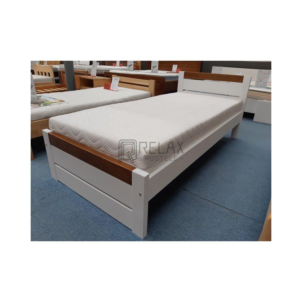 Dřevěná postel Ravona - 90x200 - borovice (Laťkový rošt Laťkový rošt / 90x200 cm - 16 lamel, Moření postele Moření postele / Bílá barva, Moření čel - kombinace Moření čel - kombinace / bílá)
