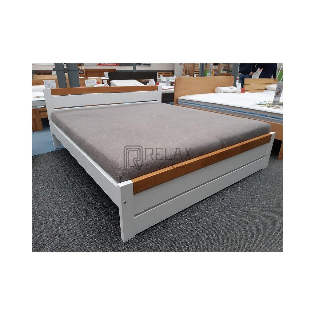 Manželská postel Ravona - 140x200 (Laťkový rošt Laťkový rošt / 70x200 cm 2 ks - 16 lamel, Moření postele Moření postele / Bílá barva, Moření čel - kombinace Moření čel - kombinace / bílá)