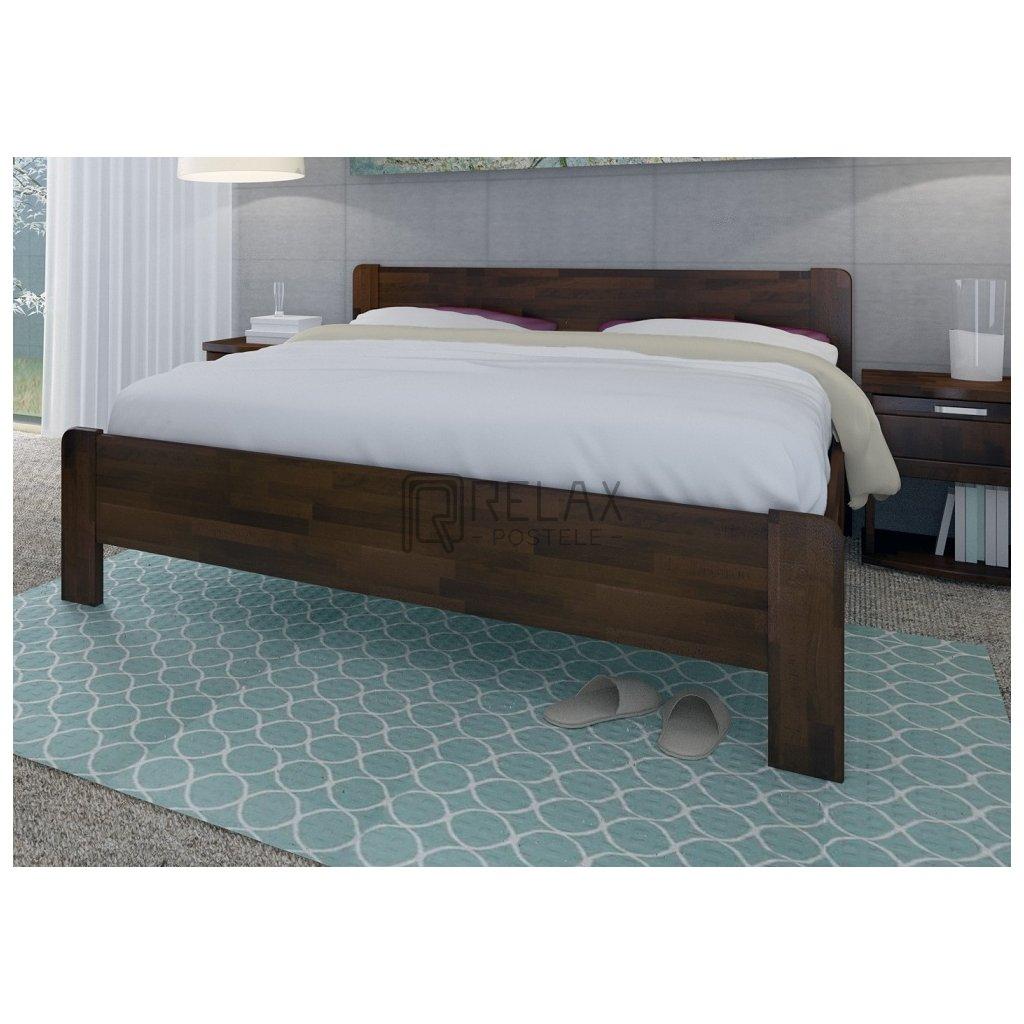 Buková zvýšená manželská postel KARIN (Rozměr 140x200, Moření HP Buk přírodní)