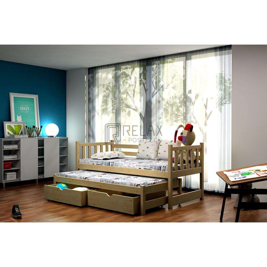 Dětská postel s přistýlkou Eliza (Moření Fafara Borovice přírodní, Rozměry postele fafara 80x180)
