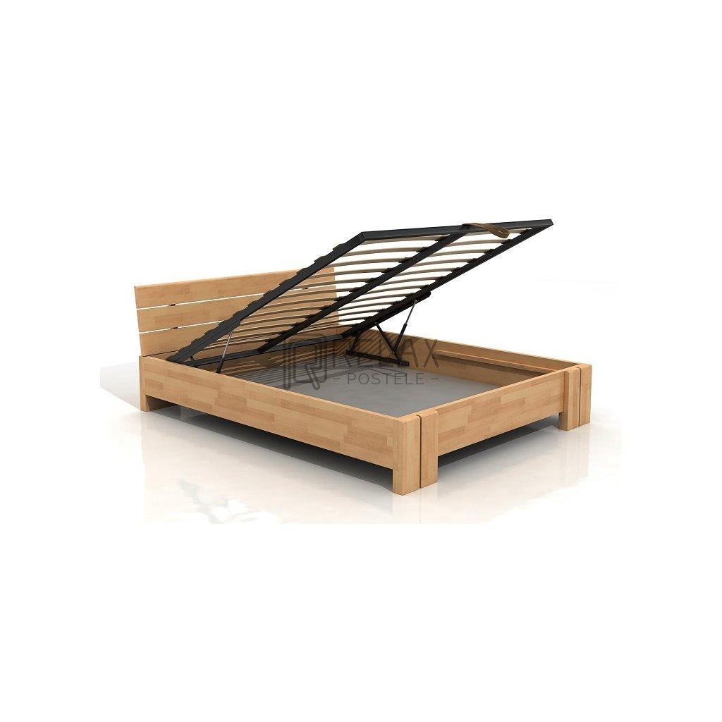 Buková zvýšená postel s úložným prostorem z masivu Arhus 180x200 - high (Moření vis. buk Moření vis. buk / Bílá)