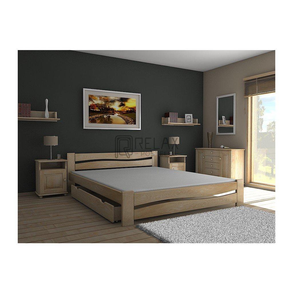 Postel ONDRA - 140x200 (Laťkový rošt Laťkový rošt / 70x200 cm 2 ks - 14 lamel, Moření postele Moření postele / Bílá barva)