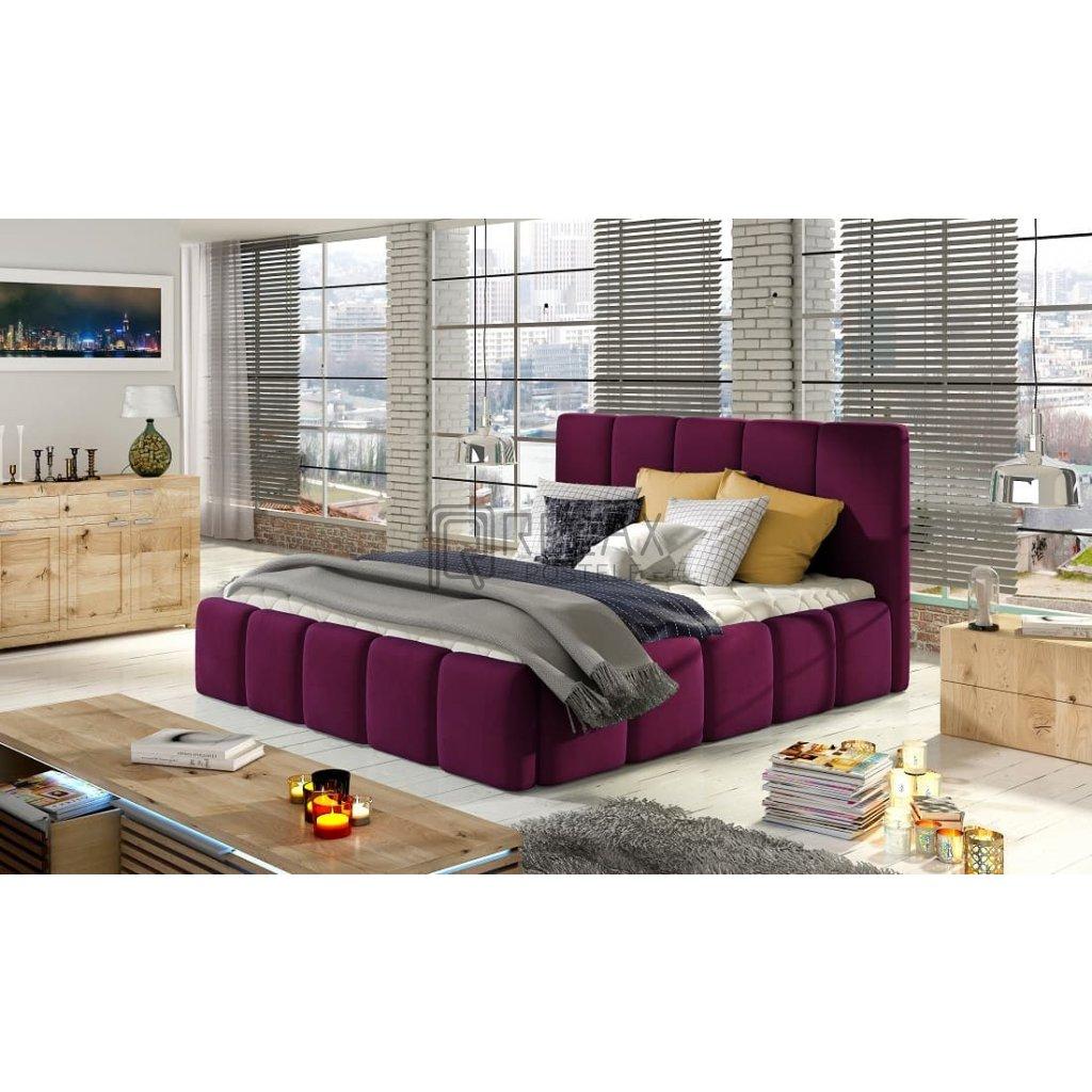 Čalouněná postel s úložným prostorem Edvige - MatVelvet 68