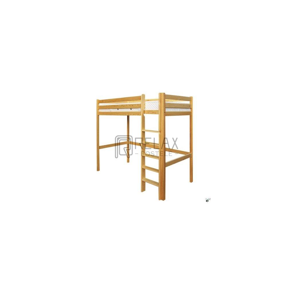 Patrová postel 128 - masiv borovice (Laťkový rošt Laťkový rošt / 90x200 cm - 14 lamel, Moření postele Moření postele / borovice)