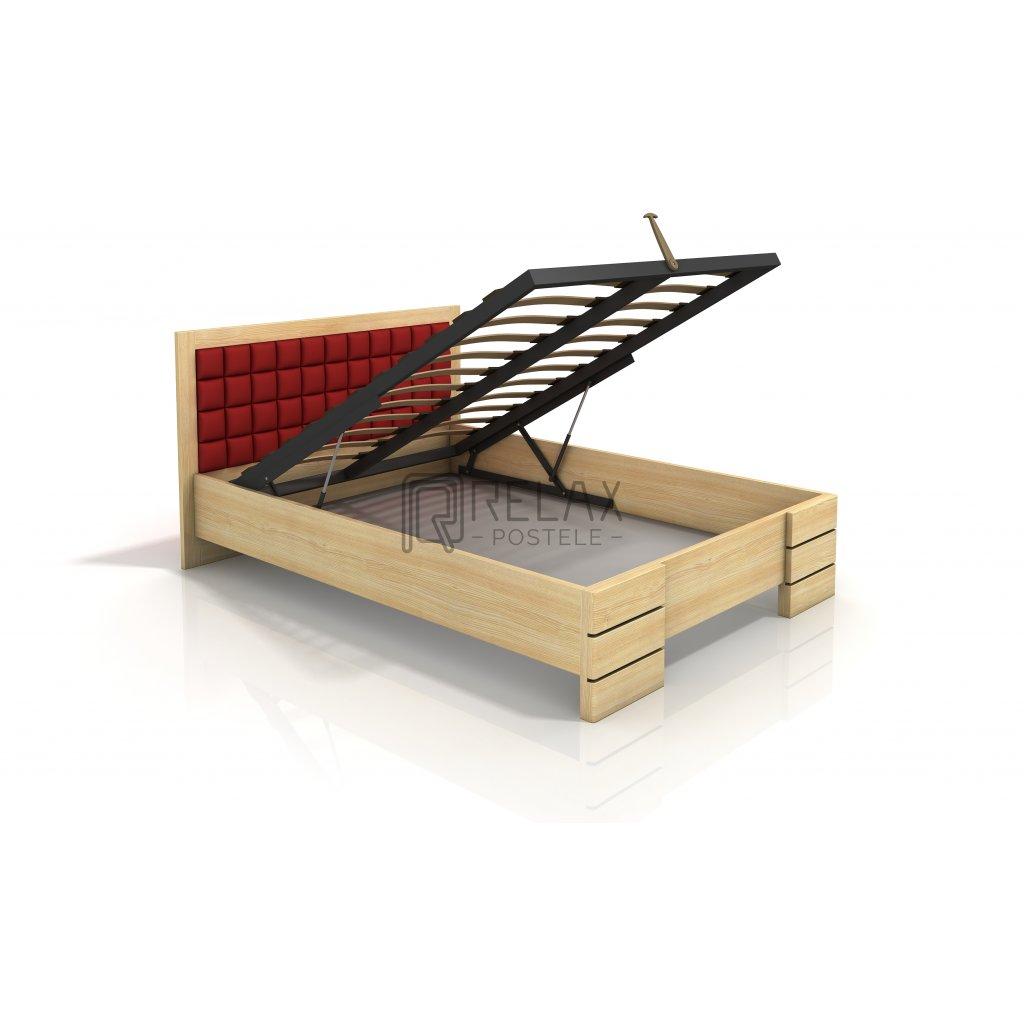 Zvýšená postel s úložným prostorem z masivu Gotland 140x200 - high (Moření vis. Moření vis. / Bílá, Čalounění - Vis. Čalounění - Vis. / 2311)