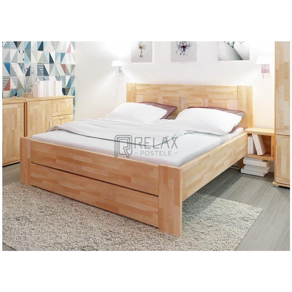 Manželská buková postel Fiona Supra - 180x200cm (Rozměr 180x200, Moření HP Antracit)