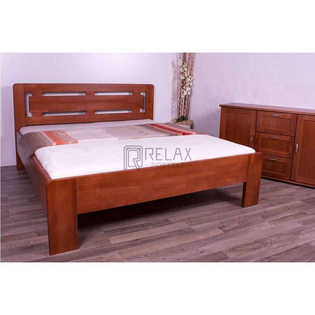 Buková zvýšená manželská postel NAOMI SUPRA - (ZAOBLENÁ) (Rozměr 160x200, Moření HP Antracit)