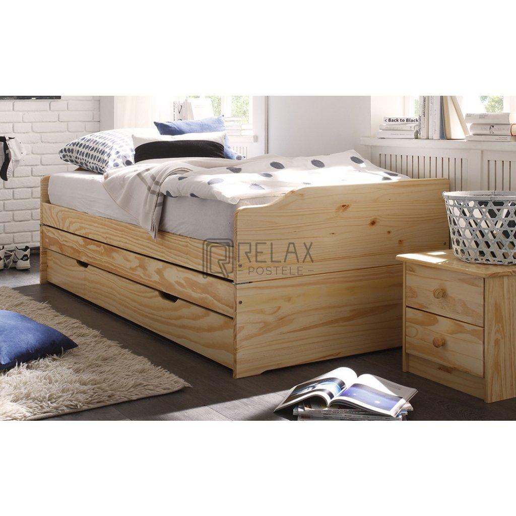 7419 6 Rozkládací postel pro 3 Fenix - masiv borovice