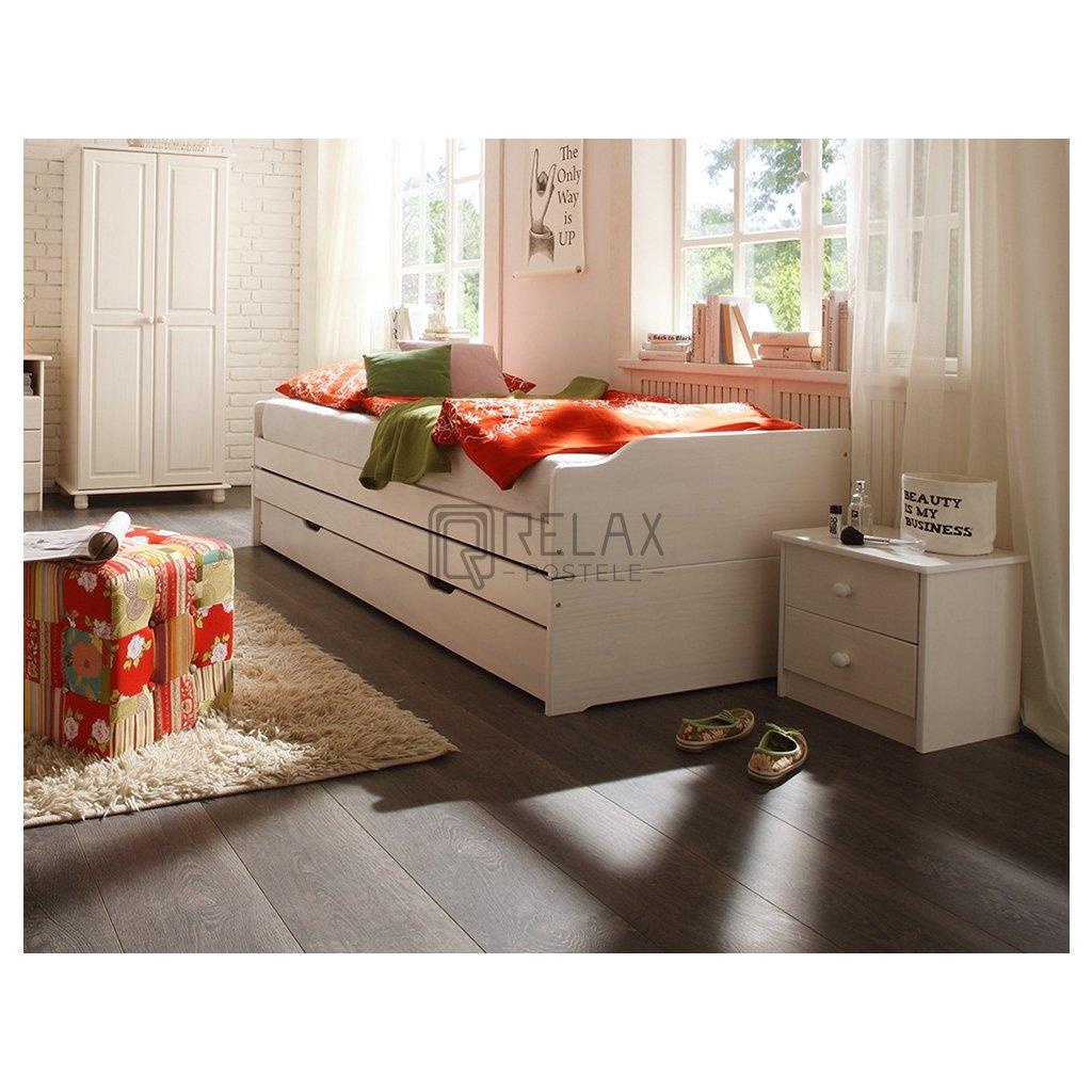 Bíla rozkladaci postel pro 3 fenix masiv borovice