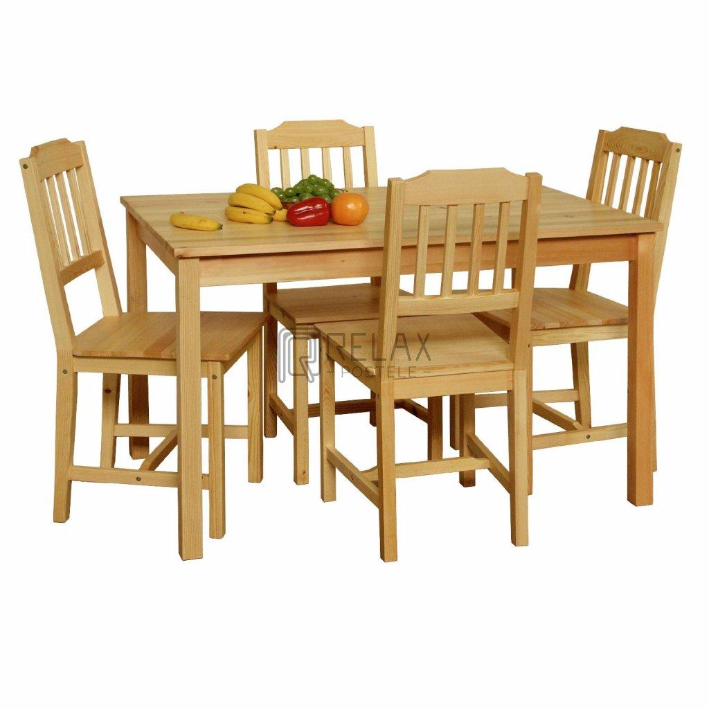 Stůl + 4 židle - masiv borovice