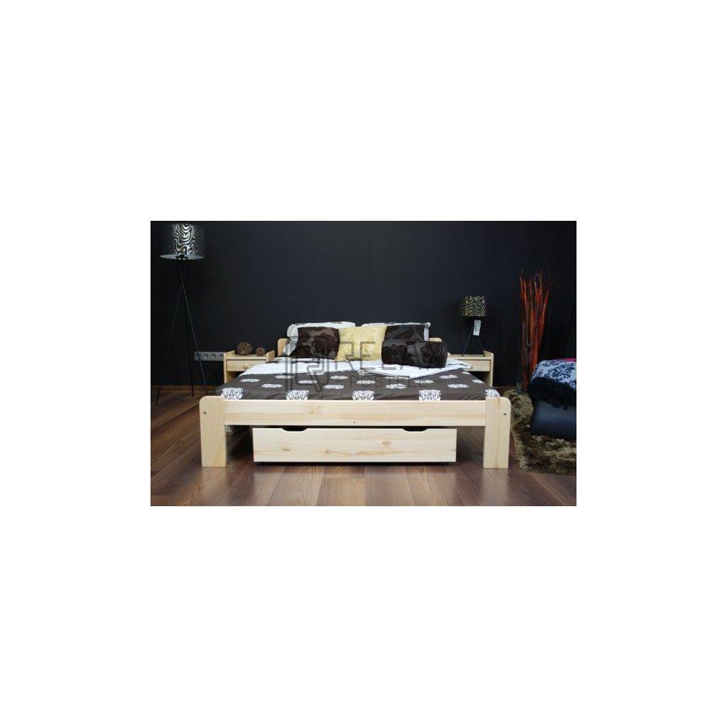 Postel Mikuš 1 - 140x200 (Laťkový rošt Laťkový rošt / 70x200 cm 2 ks - 14 lamel, Moření postele Moření postele / Bílá barva)