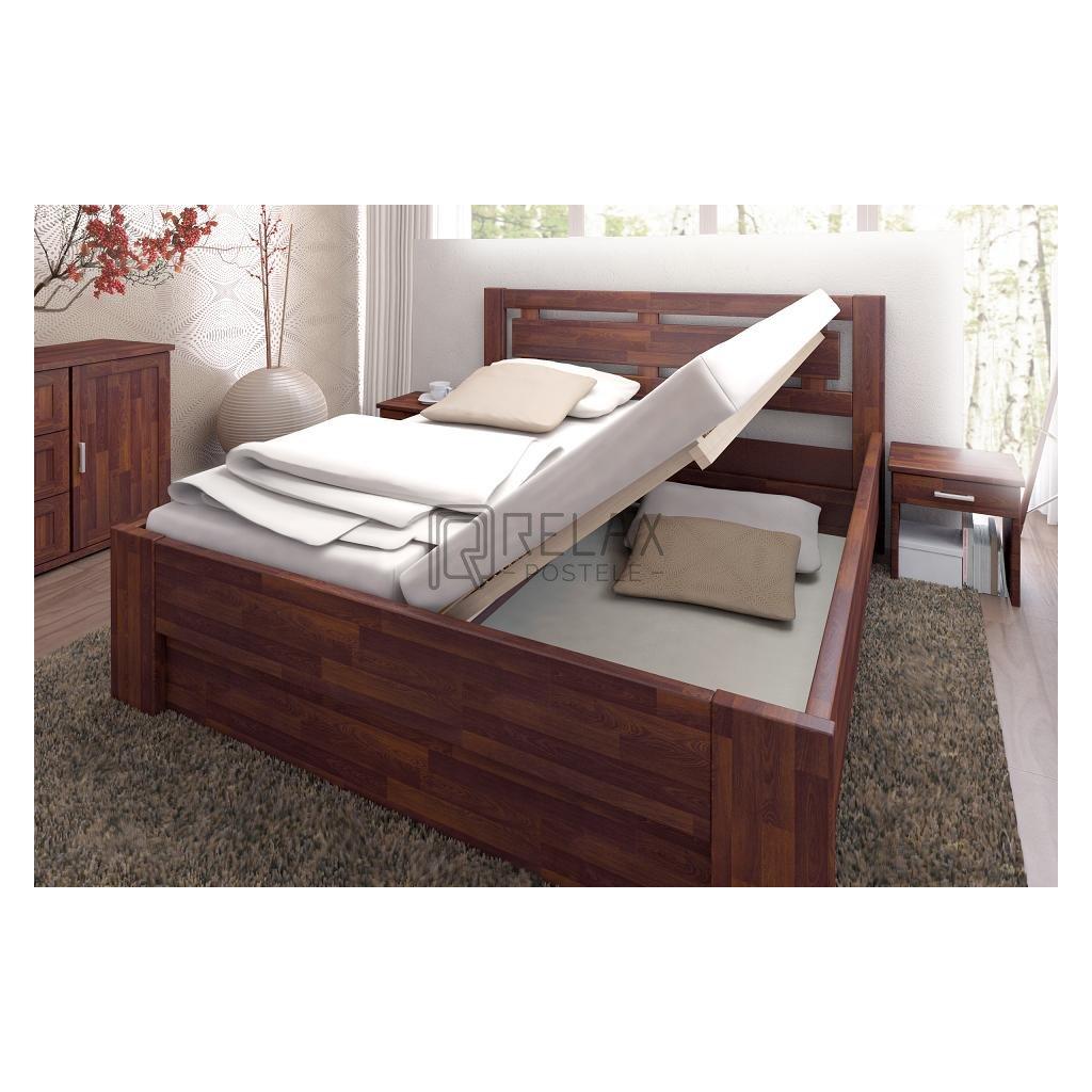Buková postel s úložným prostorem NAOMI SUPRA (Rozměr 140x200, Moření HP Buk přírodní)