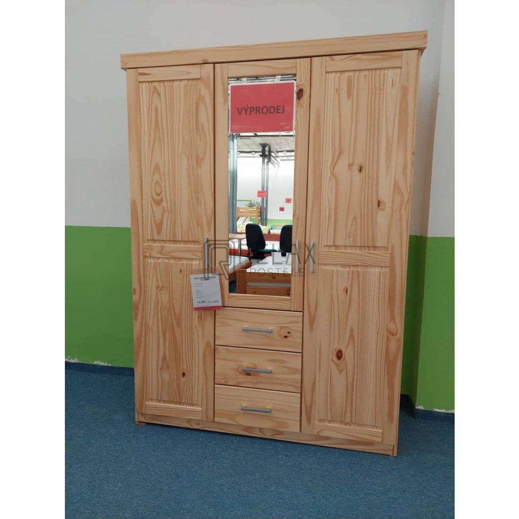 Šatní skříň se zrcadlem - masiv borovice 140 x 55 x 190 - VÝPRODEJ Z EXPOZICE