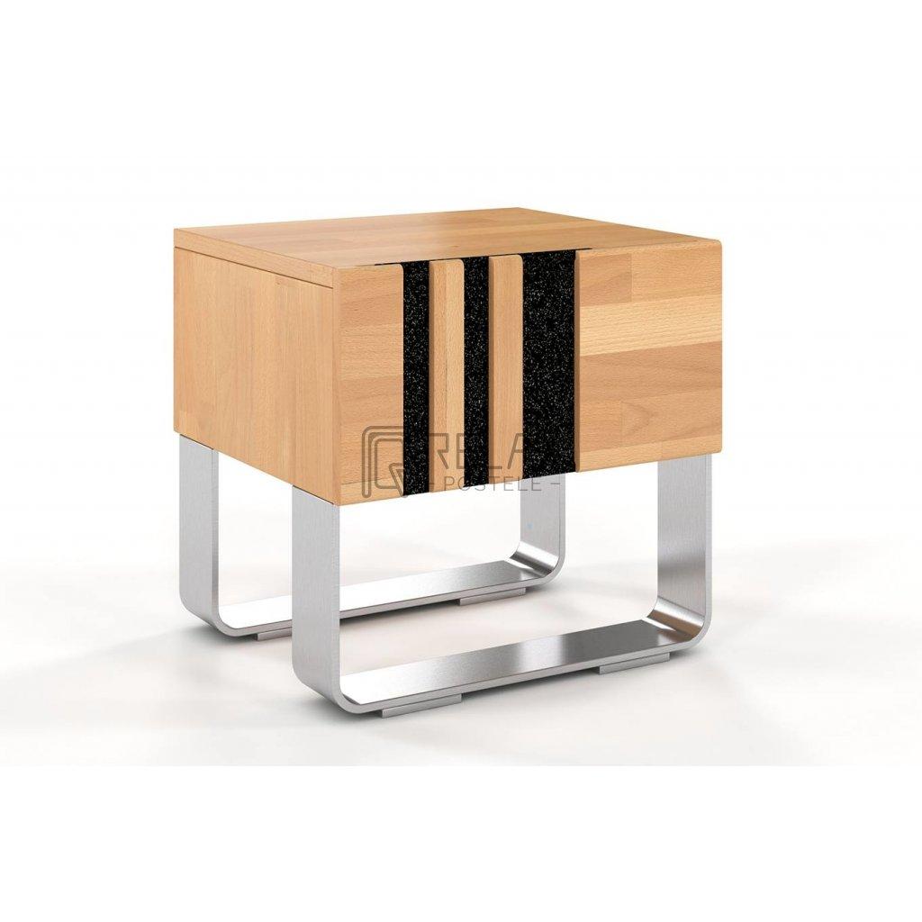 Bukový noční stolek z masivu Kelly (Moření vis. buk Moření vis. buk / Bílá)