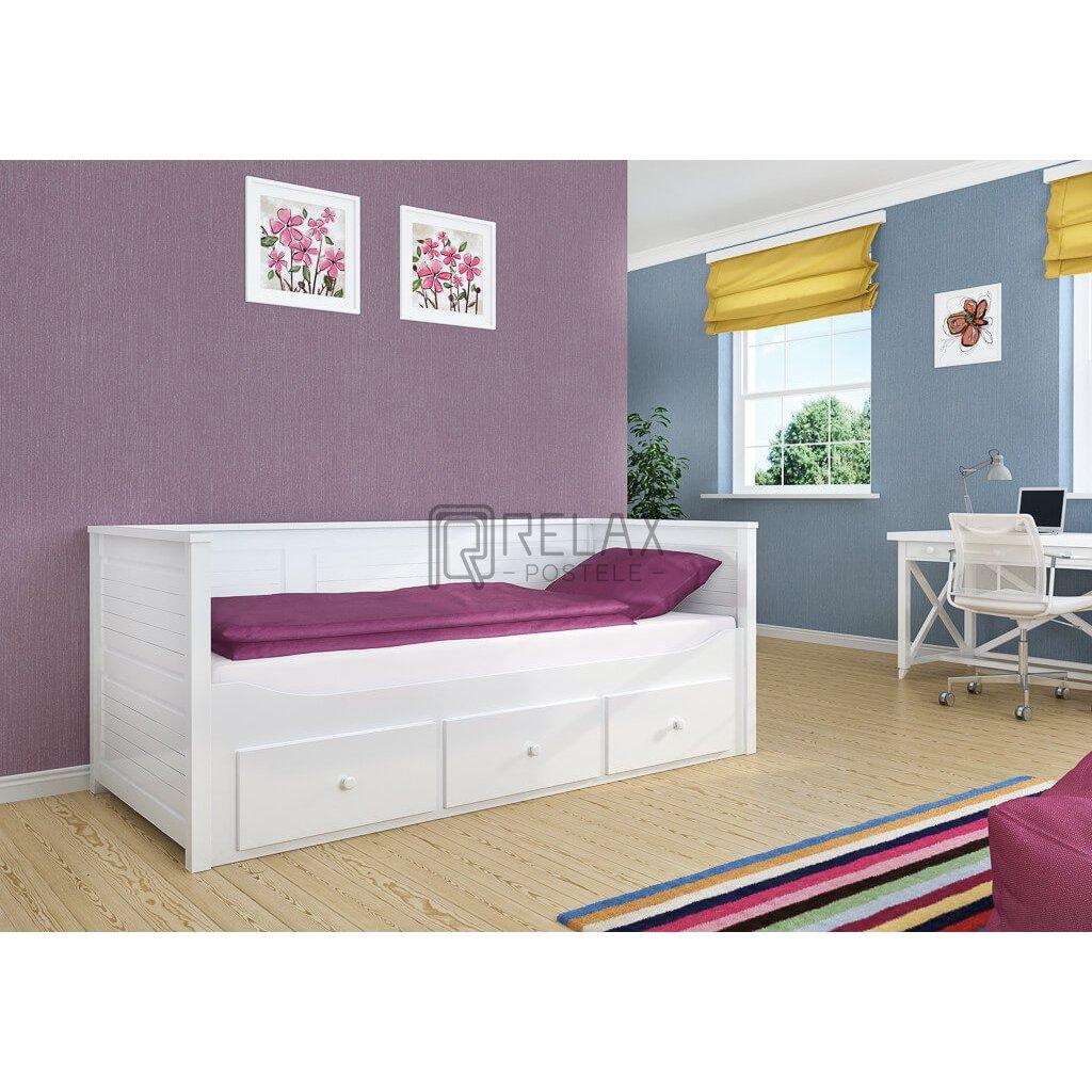 Bílá postel s úložným prostorem Melani - 90 x 200 cm