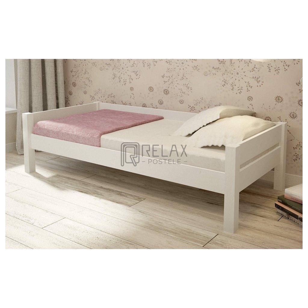 Bílá postel Lisa 90x200 - masiv borovice (Laťkový rošt Laťkový rošt / 90x200 cm - 16 lamel)