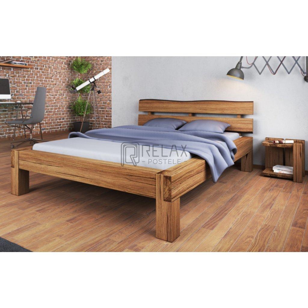 Dubová manželská postel Alto (Laťkový rošt Laťkový rošt / 90x200 cm 2 ks - 16 lamel, Rozměry - později smazat Rozměry / 180x200 cm)
