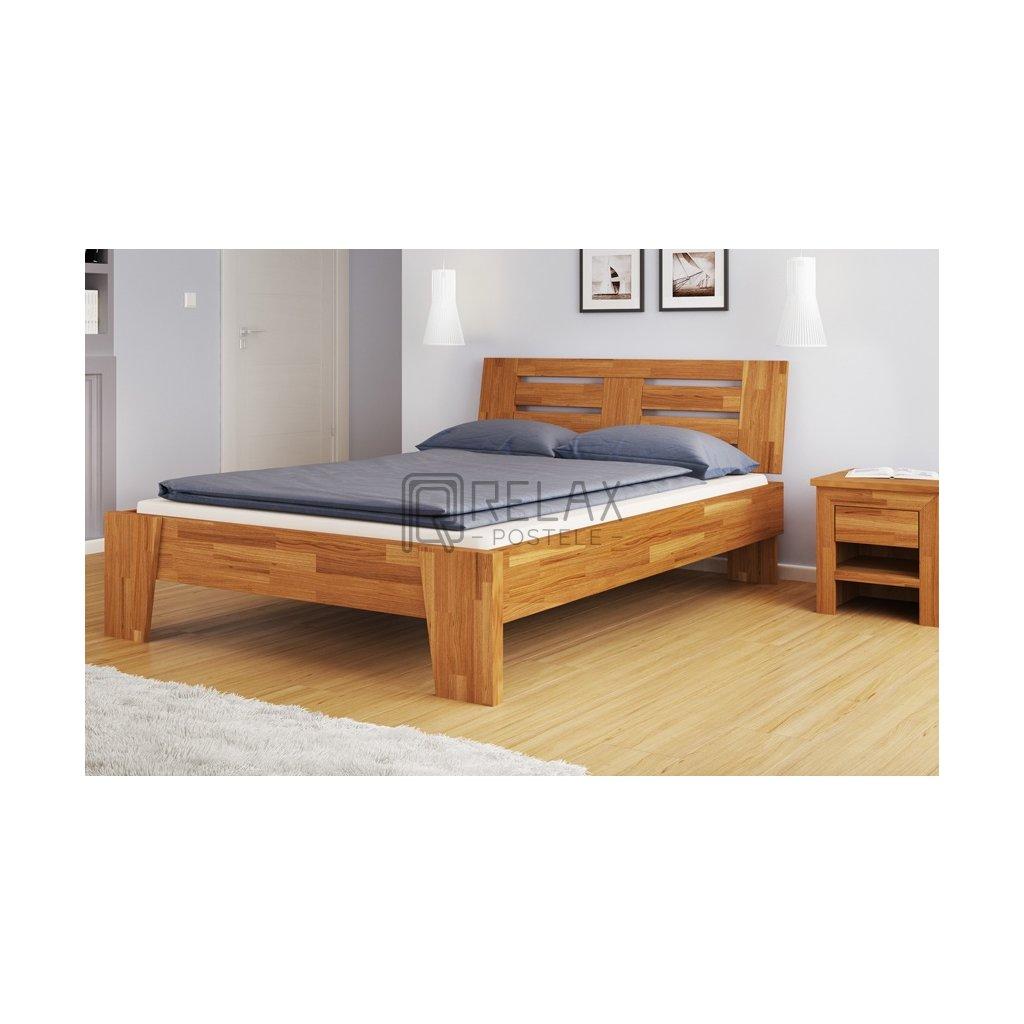 Dubová manželská postel Verona (Laťkový rošt Laťkový rošt / 90x200 cm 2 ks - 16 lamel, Rozměry - později smazat Rozměry / 180x200 cm)