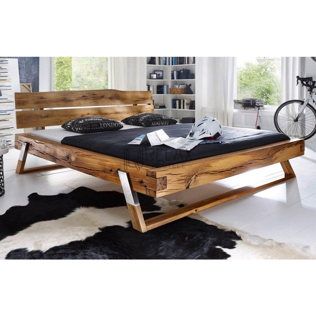 Dubová manželská postel Kasjopea (Laťkový rošt Laťkový rošt / 90x200 cm 2 ks - 20 lamel, Rozměry - později smazat Rozměry / 140x200 cm)
