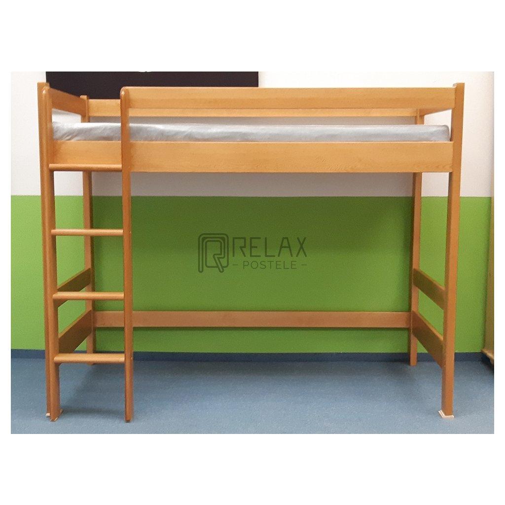 Patrová postel horní spaní Max 90x200 - borovice (Laťkový rošt Laťkový rošt / 90x200 cm - 16 lamel, Moření postele Moření postele / Bílá barva)