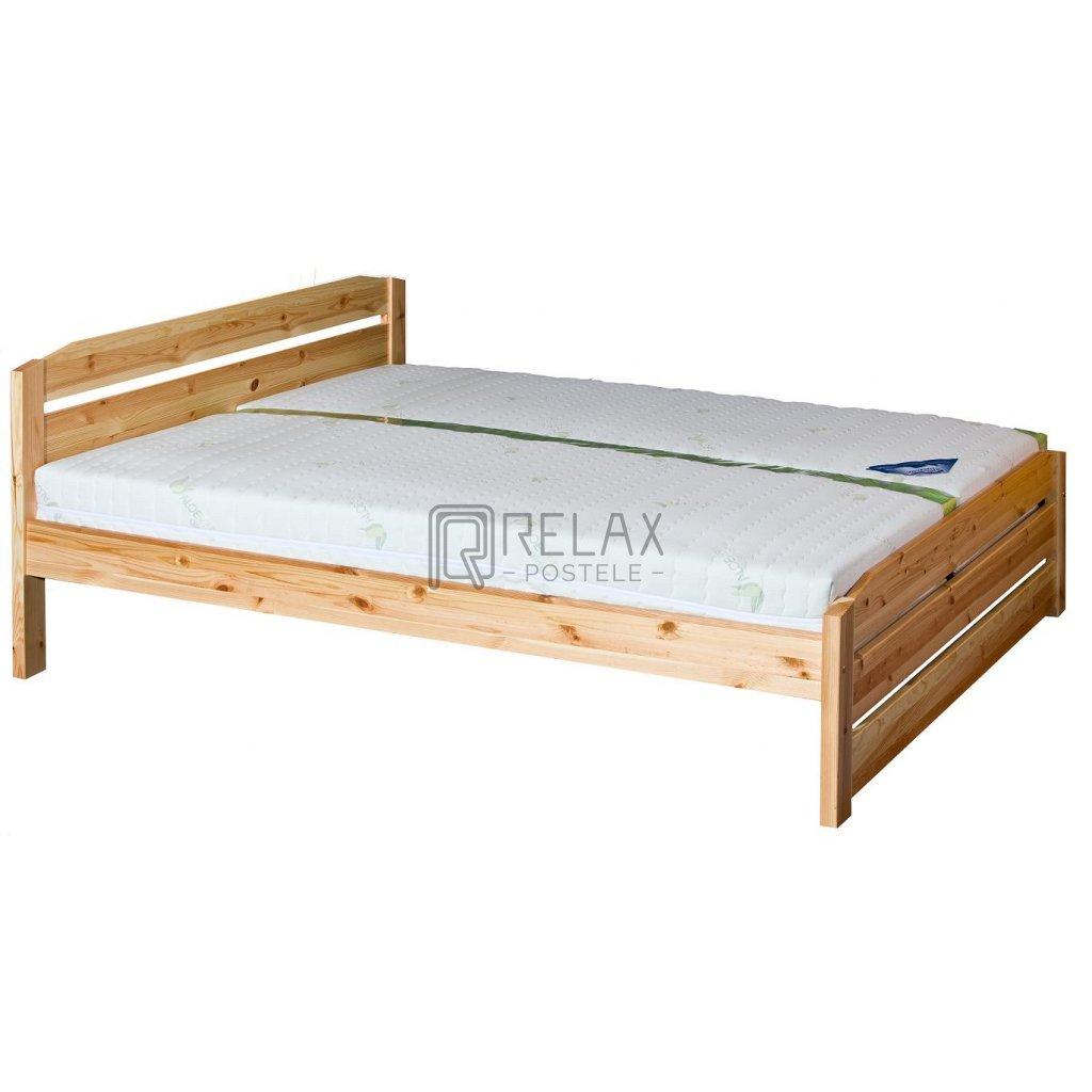 Manželská postel MD 646 140x200 cm - masiv borovice (Laťkový rošt Laťkový rošt / 70x200 cm 2 ks - 16 lamel)