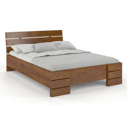 Buková zvýšená postel z masivu Sandemo 200x200 - high (Laťkový rošt Laťkový rošt / 100x200 cm 2 ks - 14 lamel ZDARMA, Moření vis. buk Moření vis. buk / Bílá)
