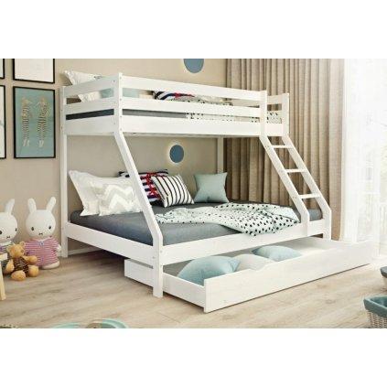 Patrová postel pro 3 Mike - bílá