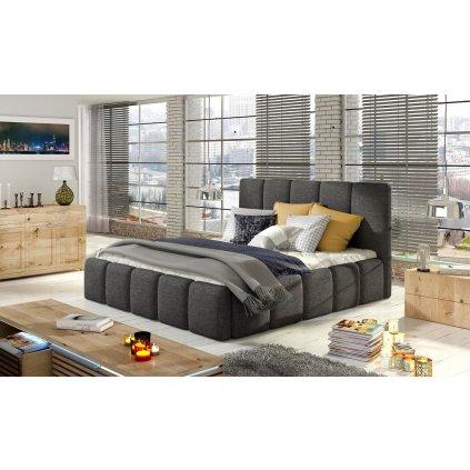 Čalouněná postel s úložným prostorem Edvige - Sawana 05
