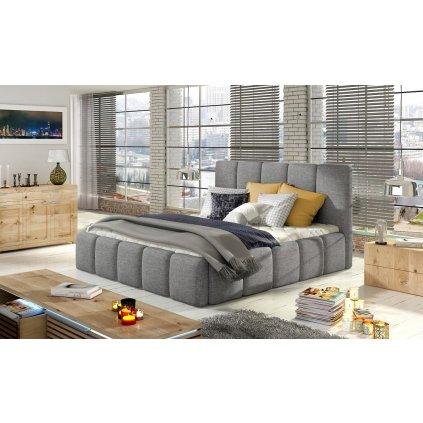 Čalouněná postel s úložným prostorem Edvige - Sawana 21