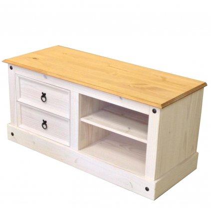 Bílý TV stolek Cora 2S - masiv borovice161017B
