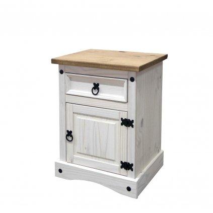 Bílý noční stolek Cora - masiv borovice16345B