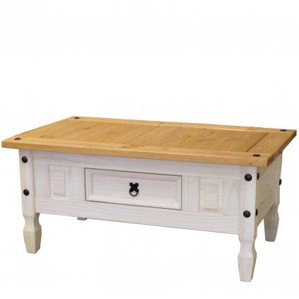 Bílý konferenční stolek Cora 1S - masiv borovice