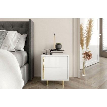 Bílý moderní noční stolek Caroline 1