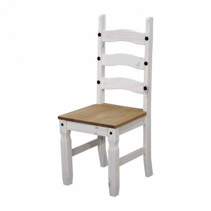 Bílá židle Cora - masiv borovice