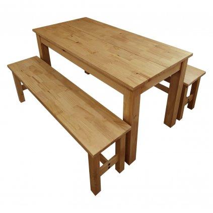 Jídelní stůl + 2 lavice Cora - masiv borovice